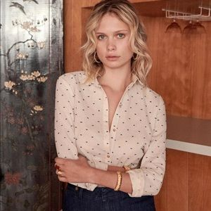 SEZANE Tom Girl Button Down Shirt Polka Dot Size 6